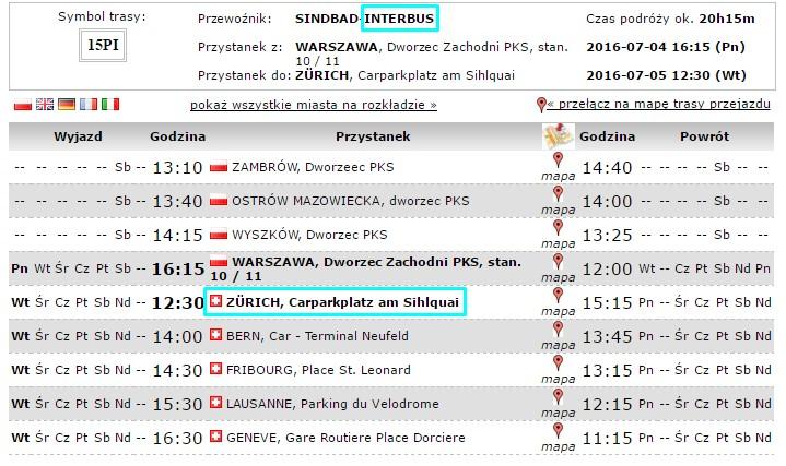 Gdzie przyjeżdżają autobusy z Polski do Zurychu?